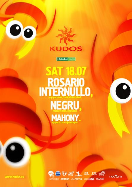 kudos beach flyer -18 iulie - rosario internullo, negru, mahony