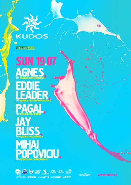 kudos beach flyer - 19 iulie - agnes, eddie leader, pagal, jay bliss, mihai popoviciu