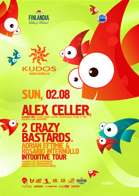 kudos beach flyer 2 august - alex celler, 2 crazy bastards (rosario internullo, adrian eftimie)