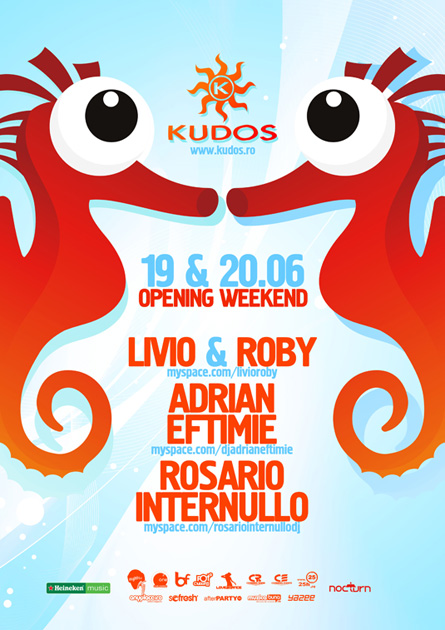 kudos beach opening flyer - livio, roby, adrian eftimie, rosario internullo