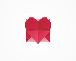 Love, origami, letter, envelope, red, heart, symbol, logo, logos, logo design by Alex Tass