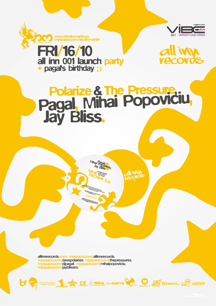 all inn 001 launch - studio martin - Polarize & the pressure, pagal, mihai popoviciu, jay bliss - poster and flyer design