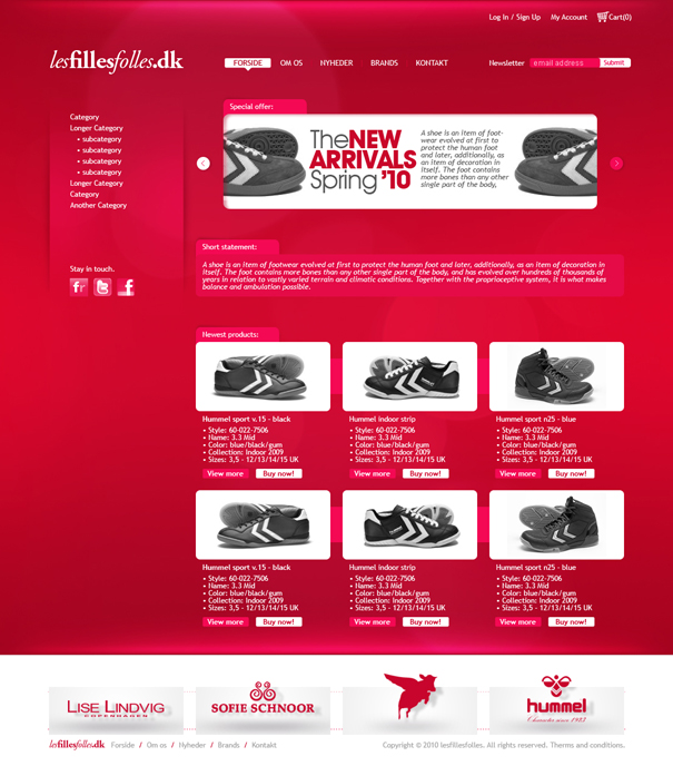 Les Filles Folles website layout