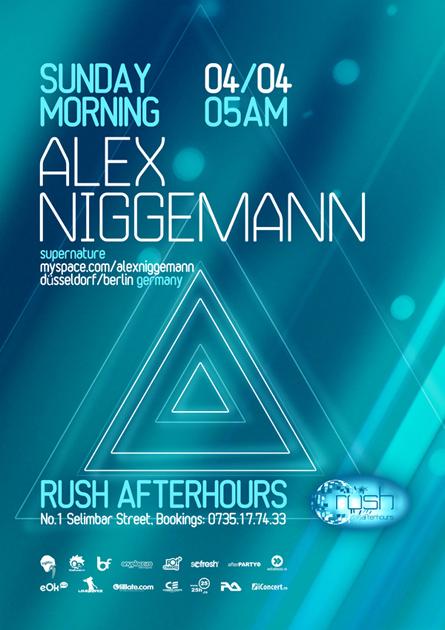 rush afterhours - alex niggemann flyer, poster