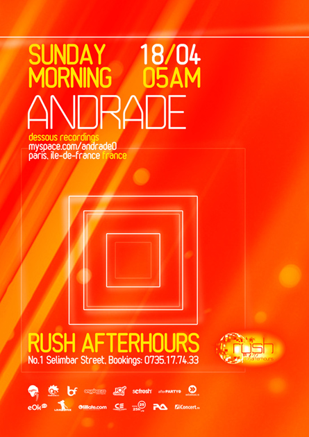 rush afterhours - andrade flyer, poster