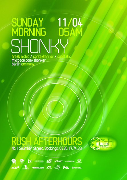 rush afterhours - shonky flyer, poster