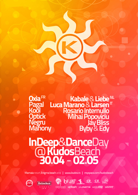 kudos beach - indeep&dance 1st of may 2010 poster & flyer - oxia, kabale und liebe, luca marano & larsen, pagal, kool, markus homm, optick, rosario internullo, mihai popoviciu, jay bliss, negru