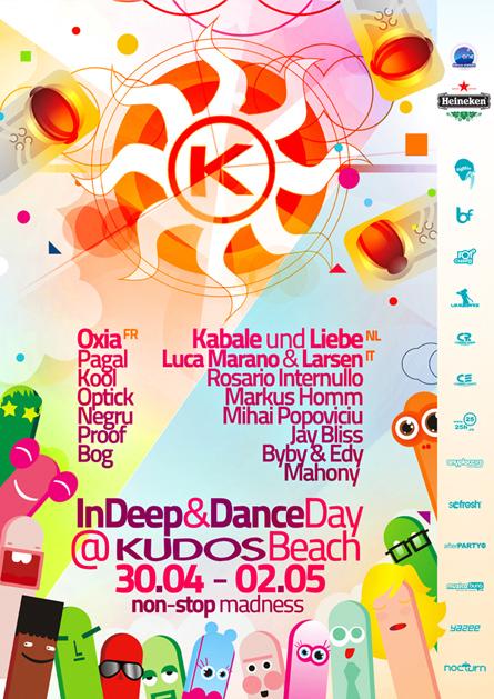 kudos beach - indeep&dance 1 mai 2010 - oxia, kabale und liebe, luca marano & larsen, pagal, kool, markus homm, optick, rosario internullo, mihai popoviciu, jay bliss, negru