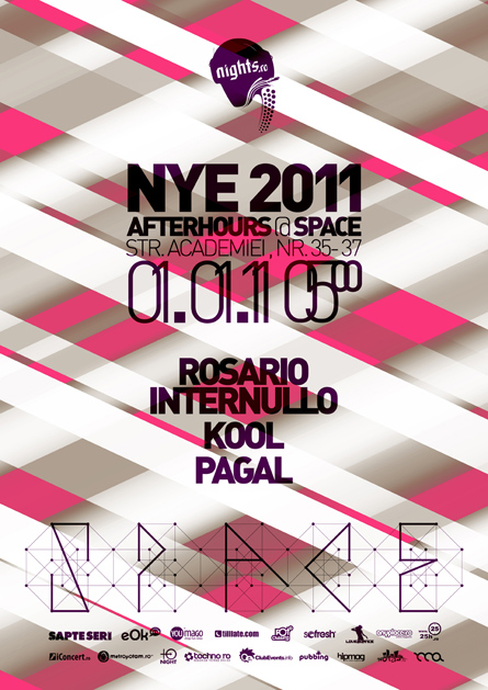 nye 2011 - afterhours - club space - rosario internullo, kool, pagal - poster, flyer