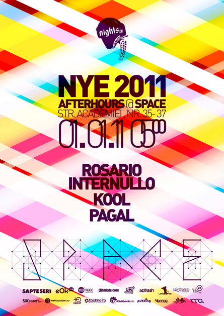 nye 2011 - aterhours - club space - rosario internullo, kool, pagal - poster, flyer