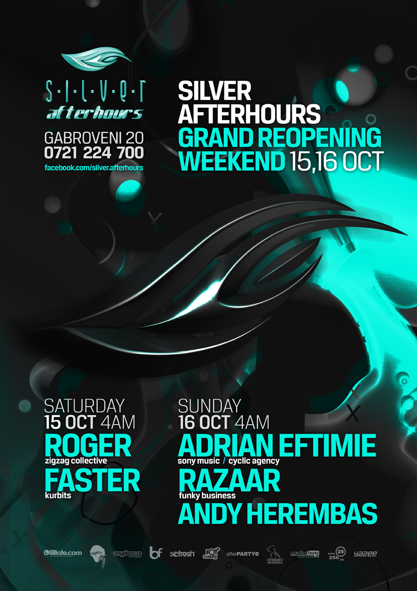 silver afterhours - reopening weekend - flyer, poster design