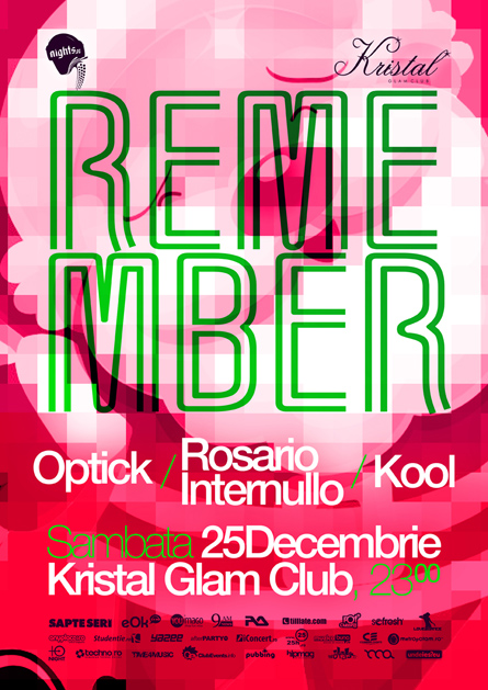 remember - kristal glam club - optick, kool, rosario internullo - flyer proposal