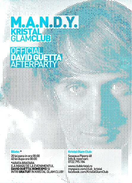 david guetta afterparty - mandy - kristal glam club - bucharest romania - flyer