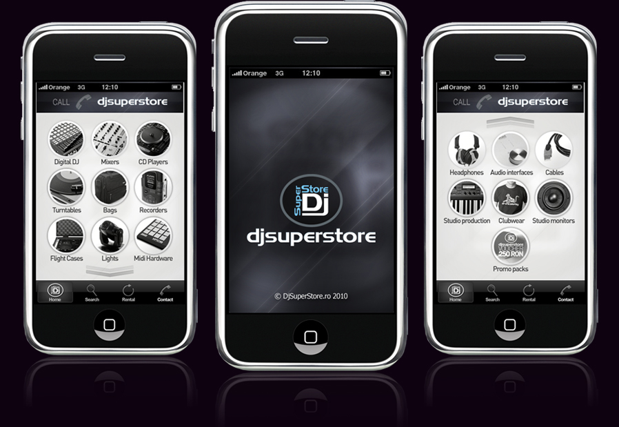 djsuperstore iphone application interface design