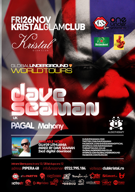 dave seaman - flyer and poster - kristal glam club