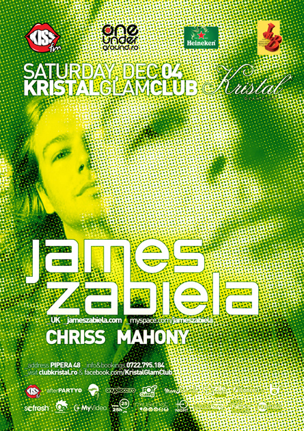 kristal glam club - james zabiela - flyer and poster