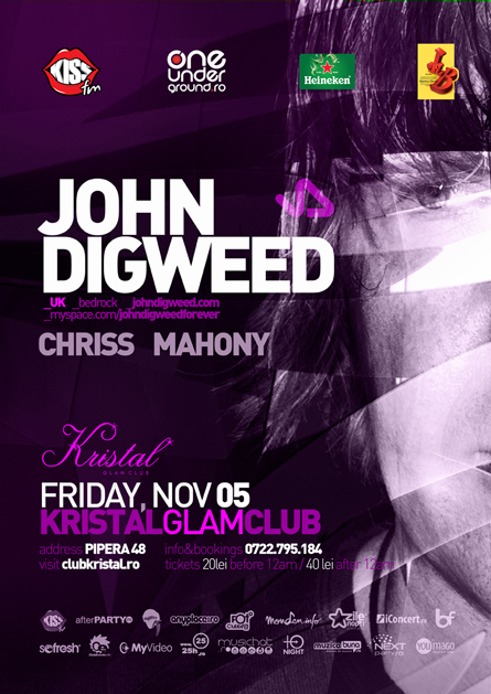 kristal glam club - john digweed - flyer and poster