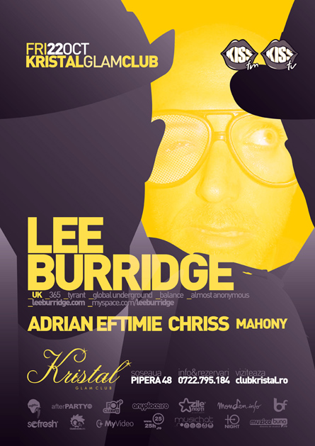 lee burridge - flyer and poster - kristal glam club
