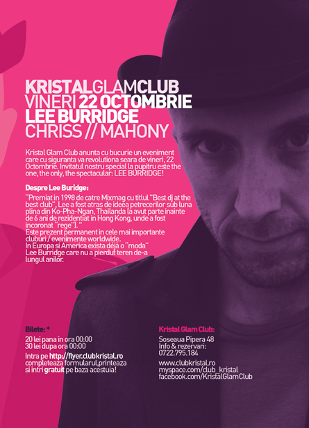kristal glam club - lee burridge - flyer back