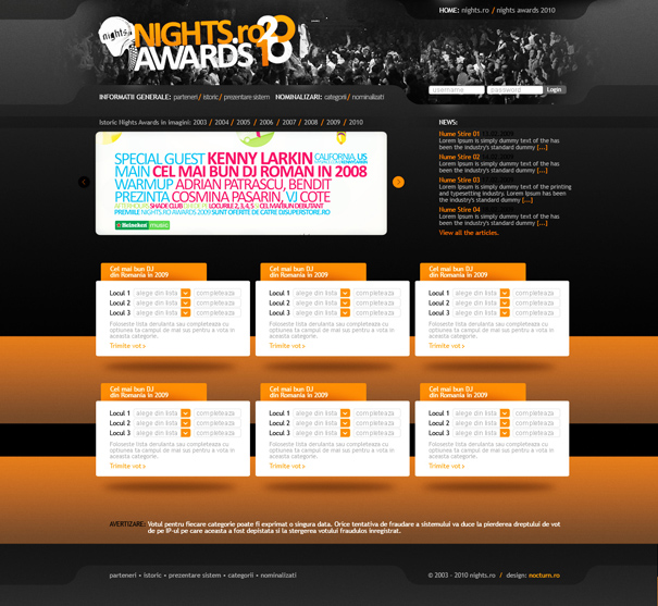 nights.ro awards 2010 - voting website layout