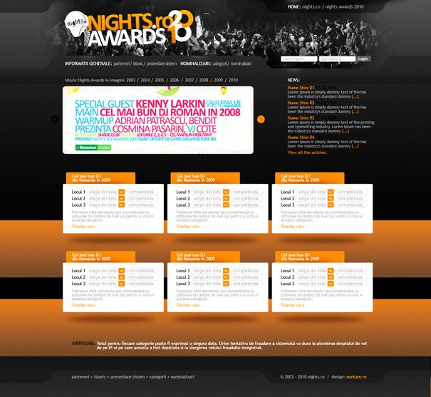 nights.ro awards 2010 - voting website layout