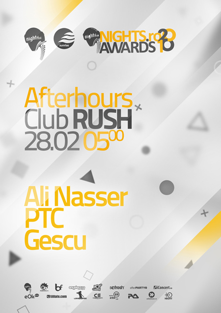 nigts.ro awards 2010 - afterhours event artwork, poster and flyer - club rush - ali nasser, ptc, gescu