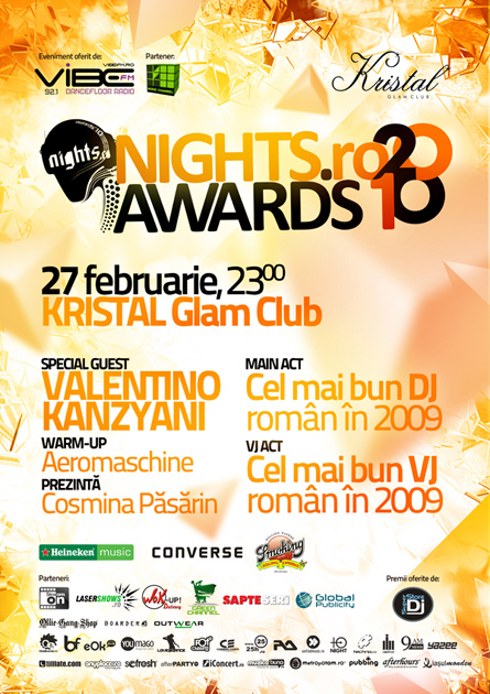 nigts.ro awards 2010 - main event artwork, poster and flyer - kristal glam club, valentino kanzyani, best romanian dj in 2009, best romanian vj in 2009