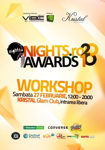 nigts.ro awards 2010 - workshop event artwork, poster and flyer - kristal glam club