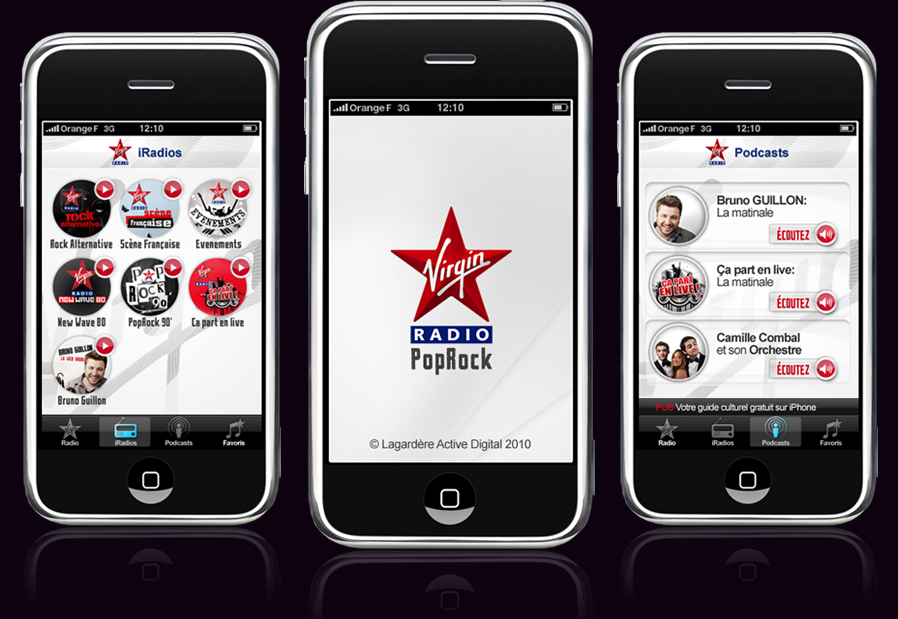 Virgin Radio France iPhone app design - Nocturn: logo, identity ...
