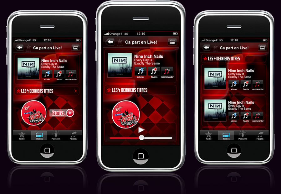 Virgin Radio France iPhone application mobile interface design