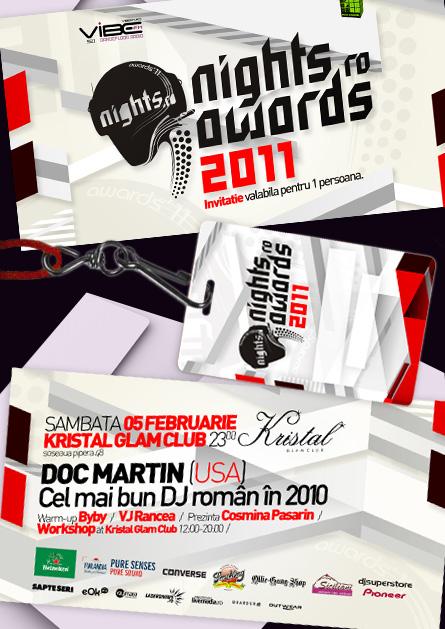 nights.ro awards 2011 - invitations and press badge