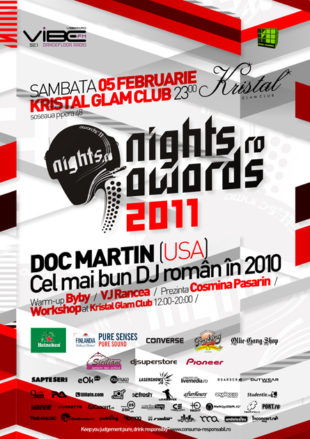nights.ro awards 2011 - main event artwork - poster and flyer - kristal glam club, doc martin, optick