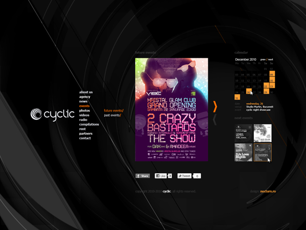 cyclic - dj booking agency - website design, layout, cms