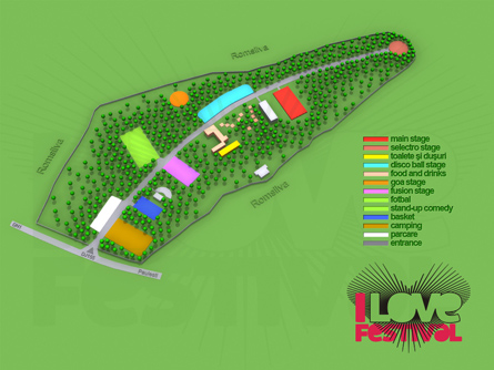 I Love Festival - electronic and alternative music festival - Ellen Allien, Kevin Saunderson, Ed Rush, Sebastien Leger, Industrialyzer, Slyde, Deekline, Chris Simmonds - 3d location map