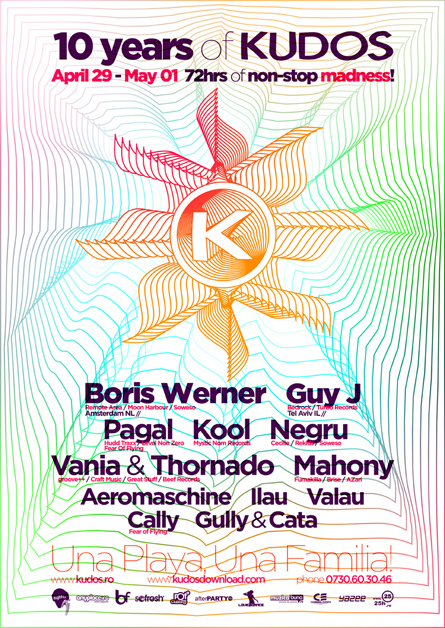 Kudos Beach - Boris Werner, Guy J, Pagal, Kool, Negru - creative, colorful, flyers and posters design