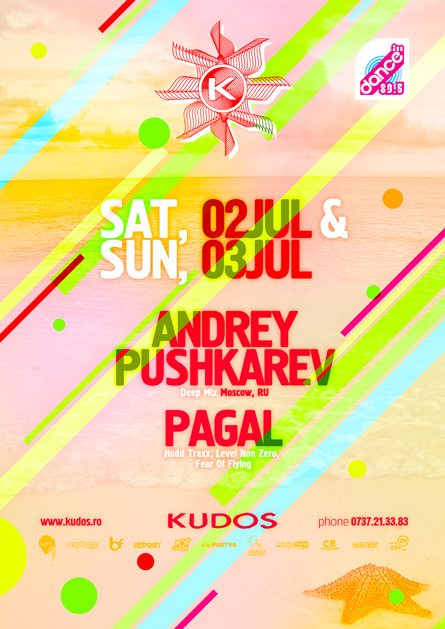 Kudos Beach - Andrey Pushkarev, Pagal - Deepmix RU - creative, colorful, flyers and posters graphic design
