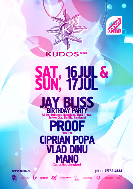 Kudos Beach - Proof, Mano, Ciprian Popa, Vlad Dinu - creative, colorful, flyers and posters graphic design