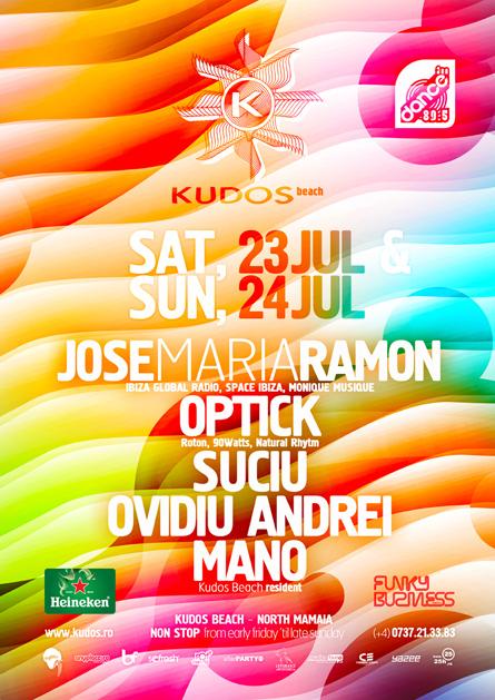 Kudos Beach - Jose Maria Ramon, Optick, Suciu, Ovidiu Andrei, Mano - Ibiza Global Radio, Space Ibiza - creative, colorful, flyers and posters graphic design