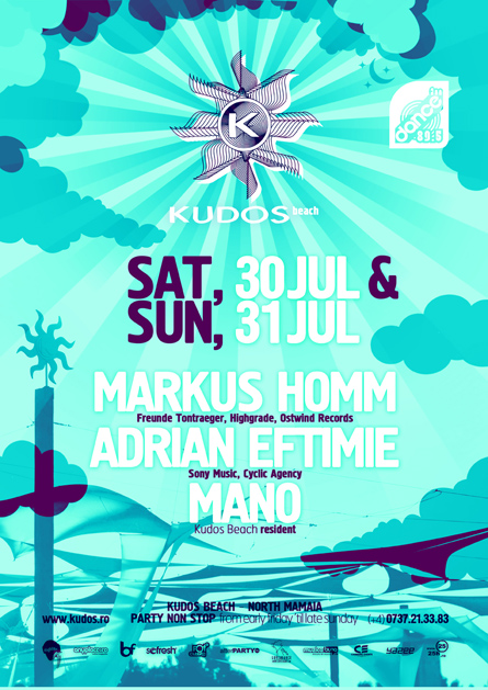 Kudos Beach - Markus Homm, Adrian Eftimie, Mano - creative, colorful, flyers and posters graphic design