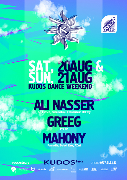 Kudos Beach - Ali Nasser, Greeg, Mahony - creative, colorful, flyers and posters graphic design