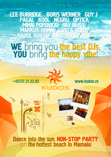 Kudos Beach - beach bar, beach club, summer club - Lee Burridge, Boris Werner, Guy J, Pagal, Negru, Kool, Optick, Markus Homm, Livio and Roby, Mihai Popoviciu, Jay Bliss - creative, colorful, flyers and posters graphic design