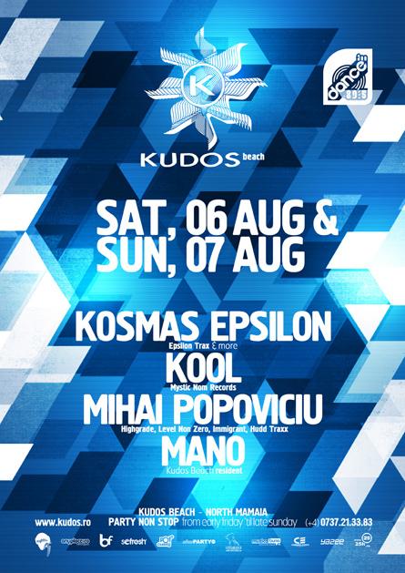 Kudos Beach - beach bar, beach club, summer club - Kosmas Epsilon, Kool, Mihai Popoviciu, Eftimie, Mano - creative, colorful, flyers and posters graphic design