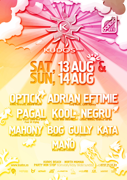 Kudos Beach - Optick, Adrian Eftimie, Pagal, Kool, Negru, Mano - creative, colorful, flyers and posters graphic design