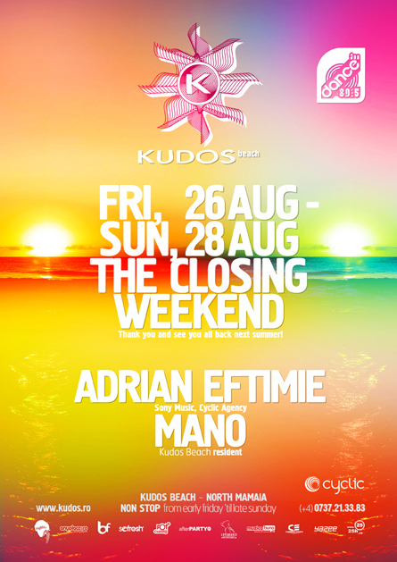 Kudos Beach - the closing weekend - Adrian Eftimie, Mano - creative, colorful, flyers and posters graphic design
