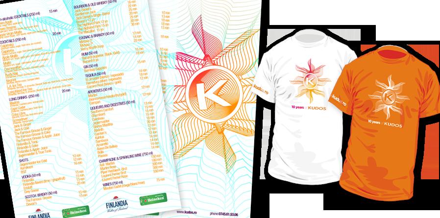 Kudos Beach - beach club, beach bar, beach, menu and t-shirts design