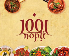 1001 nopti, 1001 nights, one thousand and one, one thousand and one nights, the Arabian nights, Romanian, restaurant, oriental cuisine, Lebanese cuisine, logo, logos, logo design by Alex Tass